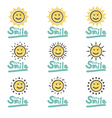 Set of suns smiles doodle Cute type font vector image