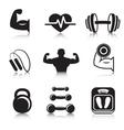 Fitness bodybuilding sport icons set vector image