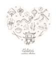 Hand drawn doodle China symbols set vector image