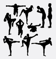 Thai boxer martial art silhouettes vector image