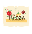 pizza lettering with cartoon ingredients vector image vector image