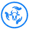 cow care hands rounded grainy icon vector image