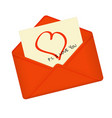 letter in open red envelope vector image
