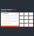 Calendar 2018 starts sunday calendar vector image