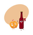 funny beer bottle and salty pretzel characters vector image vector image