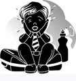 silhouettes of boy vector image