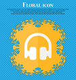 Headphones Earphones Floral flat design on a blue vector image