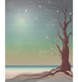 Autumn Sea Landscape with a Tree vector image