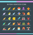 fish and seafood thin set vector image