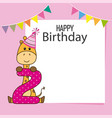 giraffe birthday card vector image