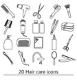hair care theme black simple outline icons set vector image
