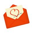 letter in open red envelope vector image