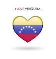 love venezuela symbol flag heart glossy icon on a vector image