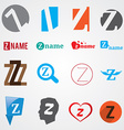 Set of alphabet symbols of letter Z vector image