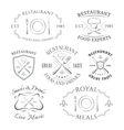Set of heraldic restaurant logos labels and vector image