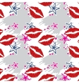 Seamless pattern red lips with stars vector image