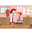 Doctor checking up boy health in clinic vector image