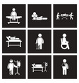 assembly stylish black white icons patients and vector image