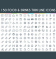food and drinks thin line icons vector image