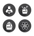 Honey icon Honeycomb cells with bees symbol vector image