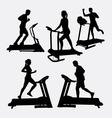 Treadmill sport training silhouette vector image vector image