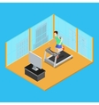 Sporty Man Running on Treadmill at Home vector image