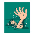 Man Reaching for Help Drowning vector image