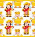 seamless pattern with cartoon king and prince vector image