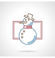 Thin color line snowman icon vector image