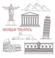 Travel landmarks of Italy Brazil Greece Africa vector image