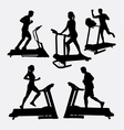 Treadmill sport training silhouette vector image