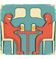 two men drinking vector image