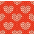 Valentines day red knitted seamless pattern vector image