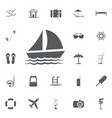 yacht icon summer set vector image