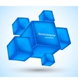 Background with blue cubes vector image vector image
