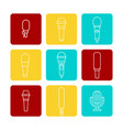 white microphone line icons set vector image