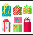 colorful wrapped gift boxes presents flat style vector image