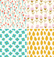 Berries and flowers patterns vector image
