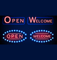 neon shining signboard with word open and welcome vector image
