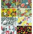 Set of cards with birds and flowers vector image
