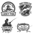 set of the tuna fishing labels design elements vector image