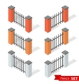 Set of three different color fence sections vector image