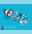 Social media integrated 3d web icons growth and vector image