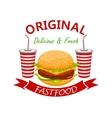 cheeseburger with soda drink fast foodd emblem vector image