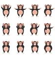 Set of Chimpanzee flat icons vector image