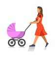 walking mother with baby carriage isolated on vector image
