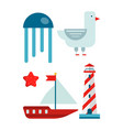 marine themed set of isolated cartoon minimalistic vector image