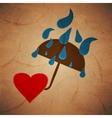rain umbrella with a heart background vector image