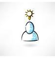 Man idea grunge icon vector image vector image