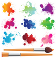 paint splashes and brushes vector image vector image